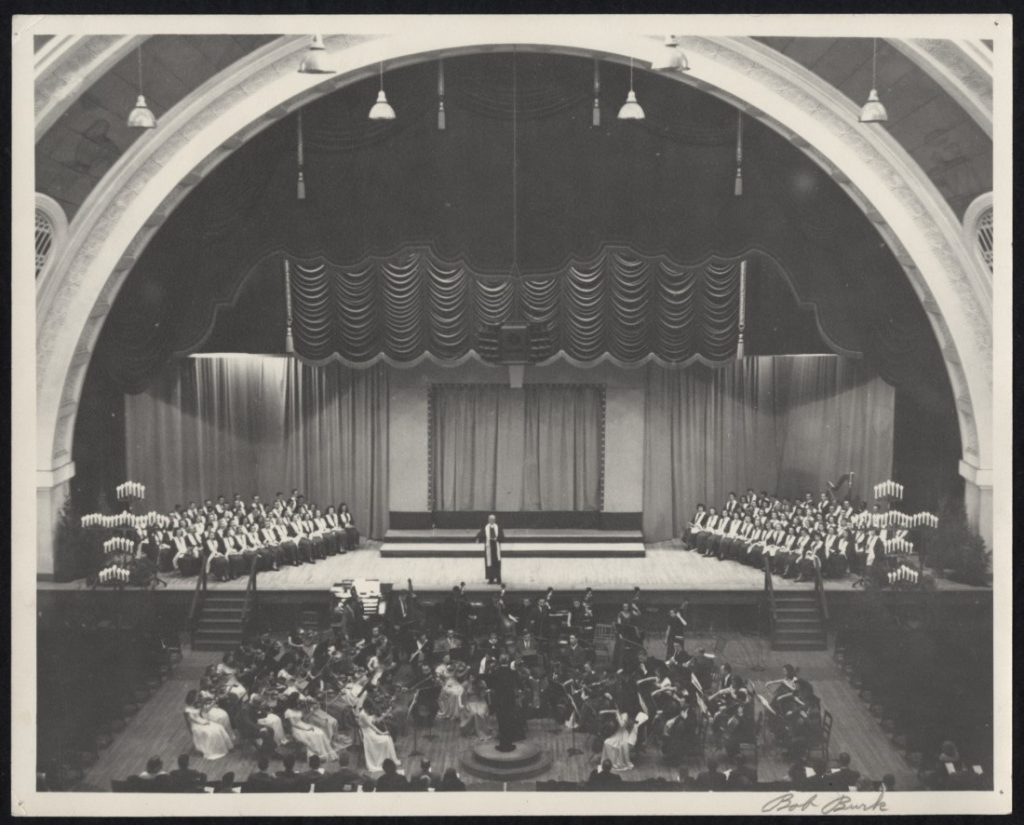 Photograph of a KU Holiday Vespers concert in Hoch Auditorium, 1940s
