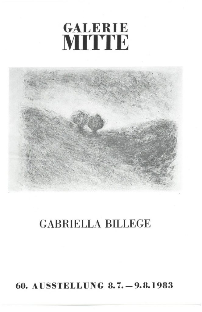 Front cover of a leaflet from the Berlin Gallerie Mitte for a 1983 show of Gabriella Billege's works