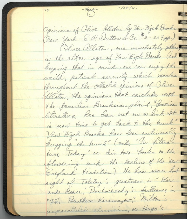 Photograph of a page from Harold Orel's reading journal, discussing one of the books he read as a teenager in November 1941