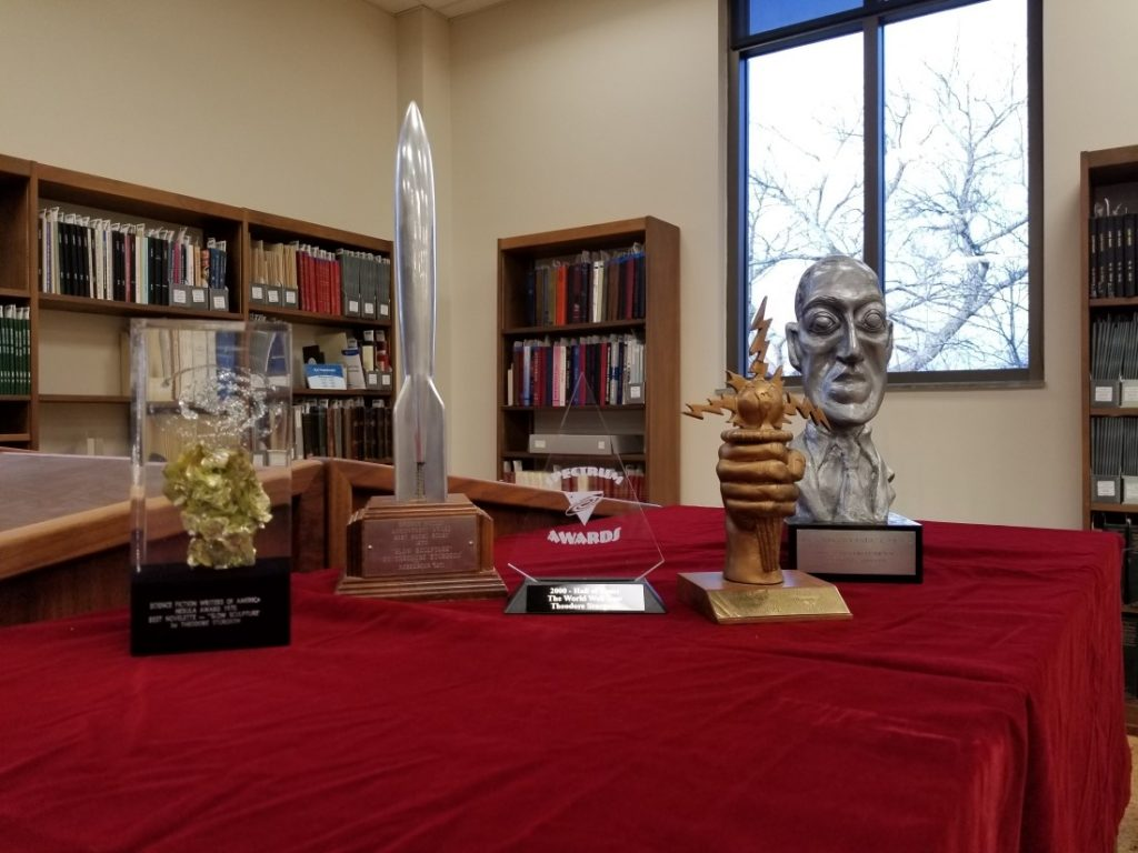Photograph of a selection of science fiction awards in Spencer's collections