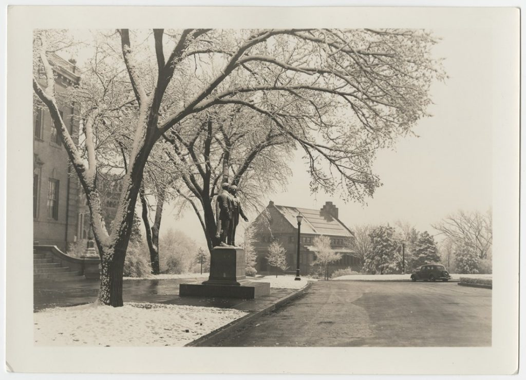 Photograph of Lippincott Hall in snow, 1940