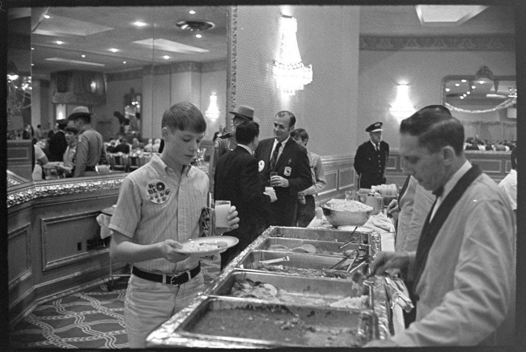 Photograph of the buffet at a KU event for the Orange Bowl, 1969