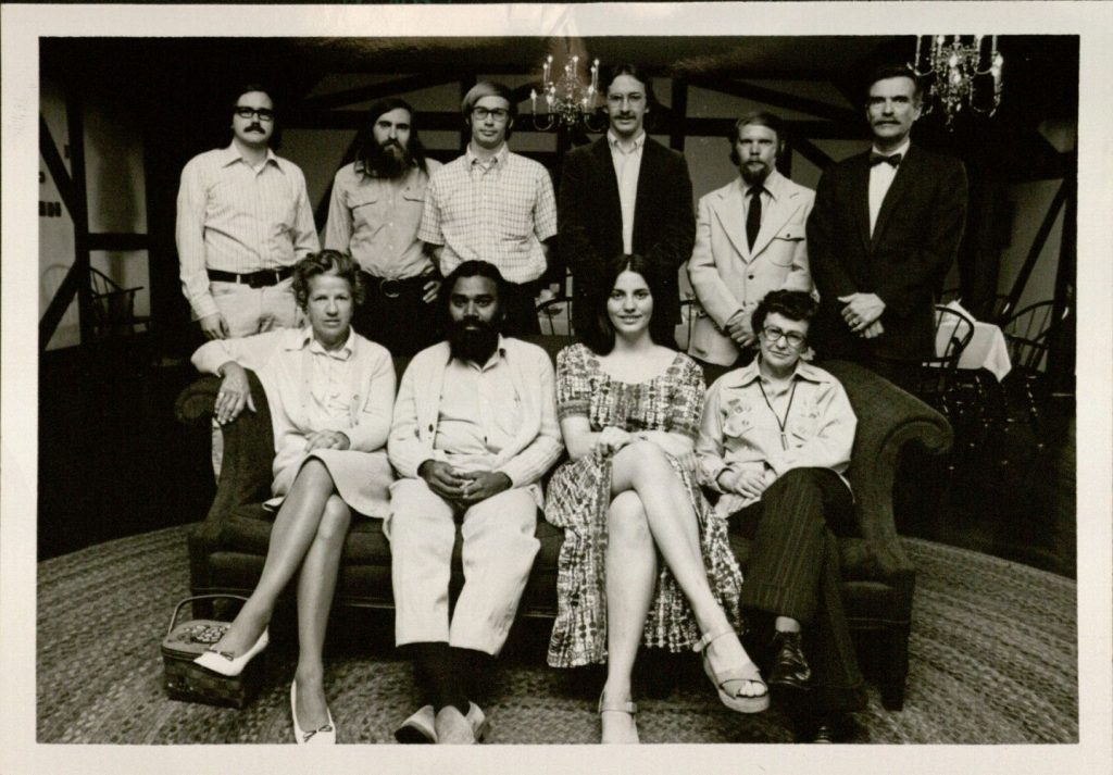 Photograph of judges and contestants at the 1973 Snyder Book Collecting Contest
