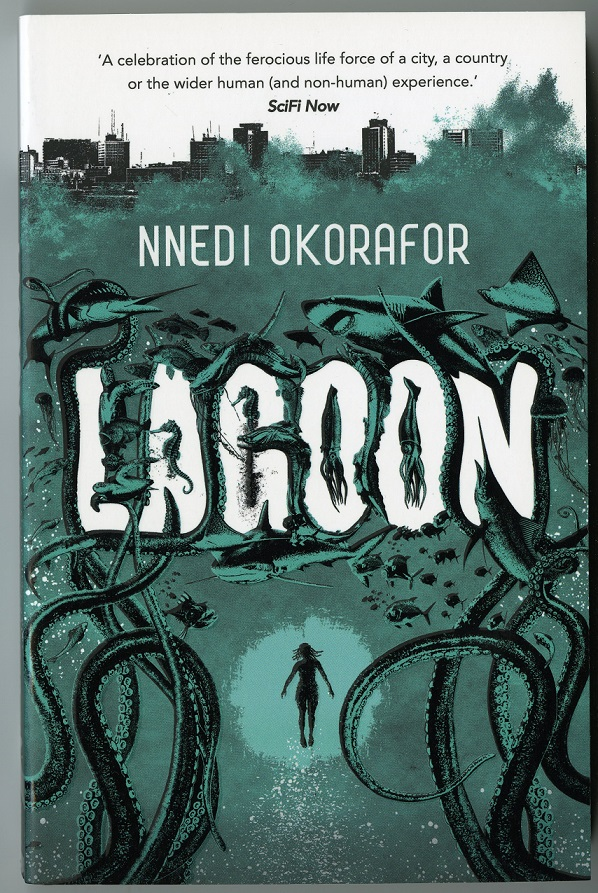 Cover of paperback UK edition of Nnedi Okorafor's Lagoon (2014), which features a figure in a wildlife filled ocean under a cityscape