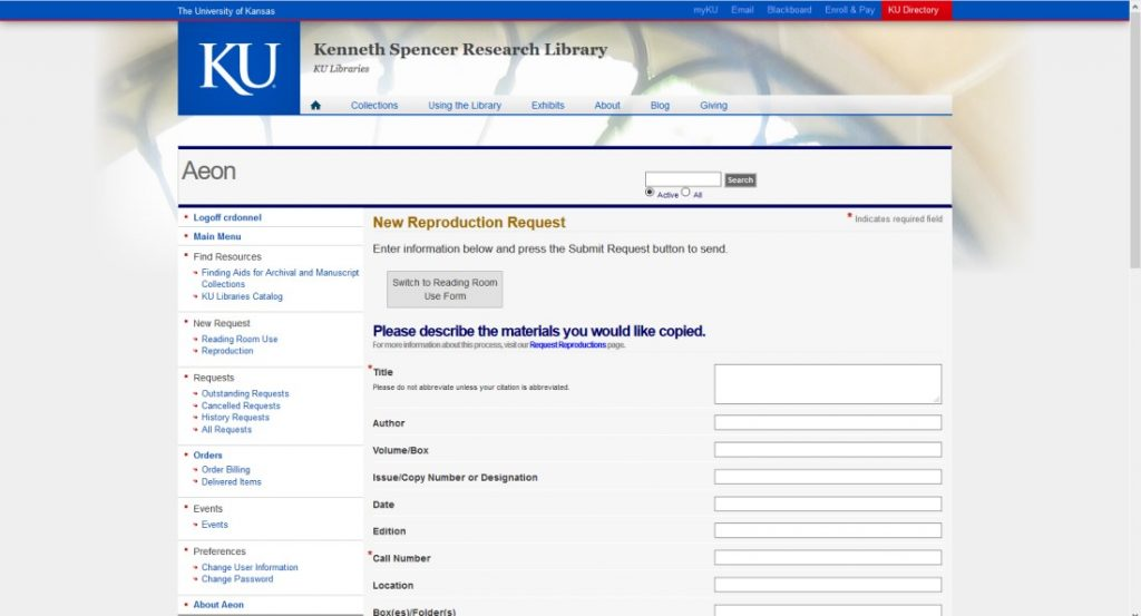 Screenshot of the new New Reproduction Request form in Aeon