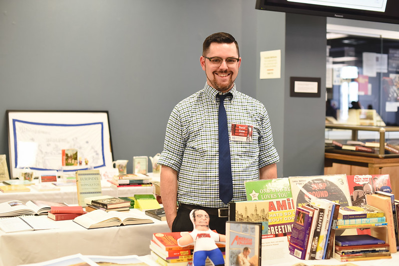 "Danny Caine with his collection ""Rust Belt Splendor: Hustle, Music, and Identity in the Post-Industrial Midwest"" at the 2016 Snyder Book Collecting Contest"