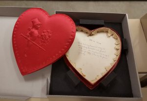 Valentine candy box with inscription.