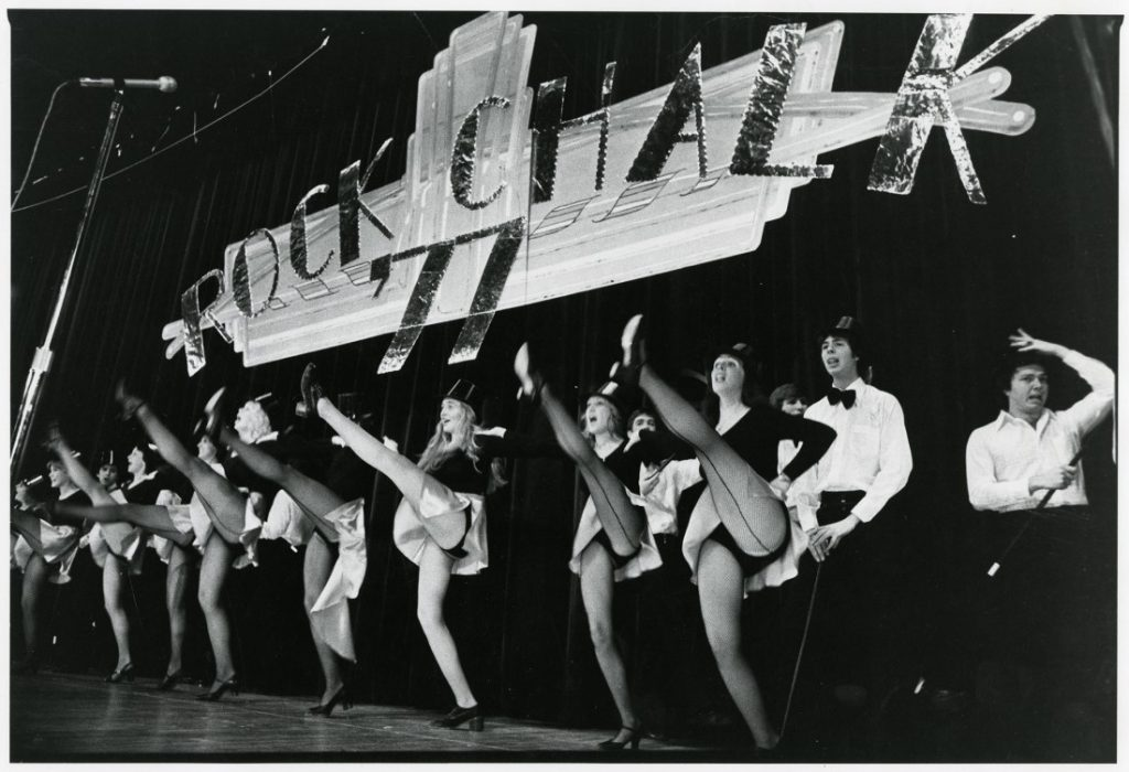 Photograph of a chorus line in the Rock Chalk Revue, 1977