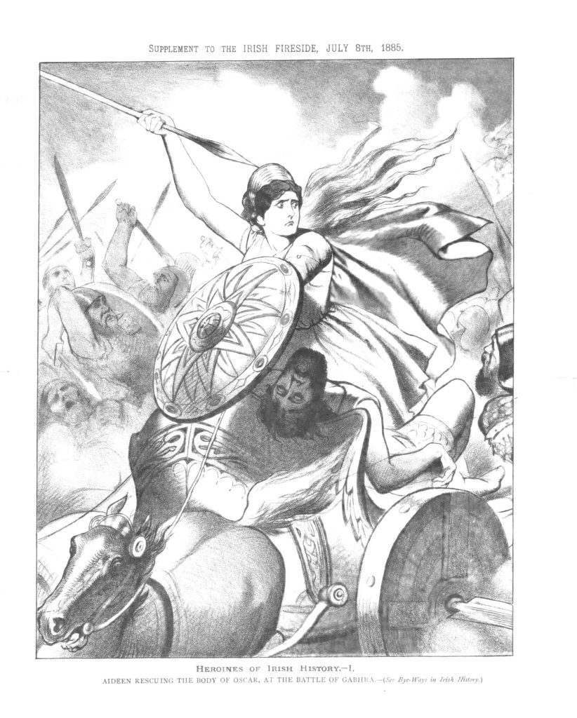 "Picture of ""Aideen Rescuing the Body of Oscar at the Battle of Gabhra"" (Aideen on horseback with shield and Spear), converted to black and white drawing"
