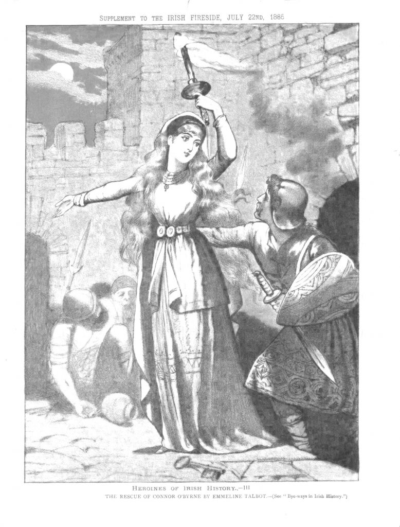 "Illustration of from ""Heroines of Irish History--III: The Rescue of Connor O'Byrne by Emmeline Talbot,"" showing Emmeline Talbot holding a torch pointing the way out to O'Byrne, converted to black and white."