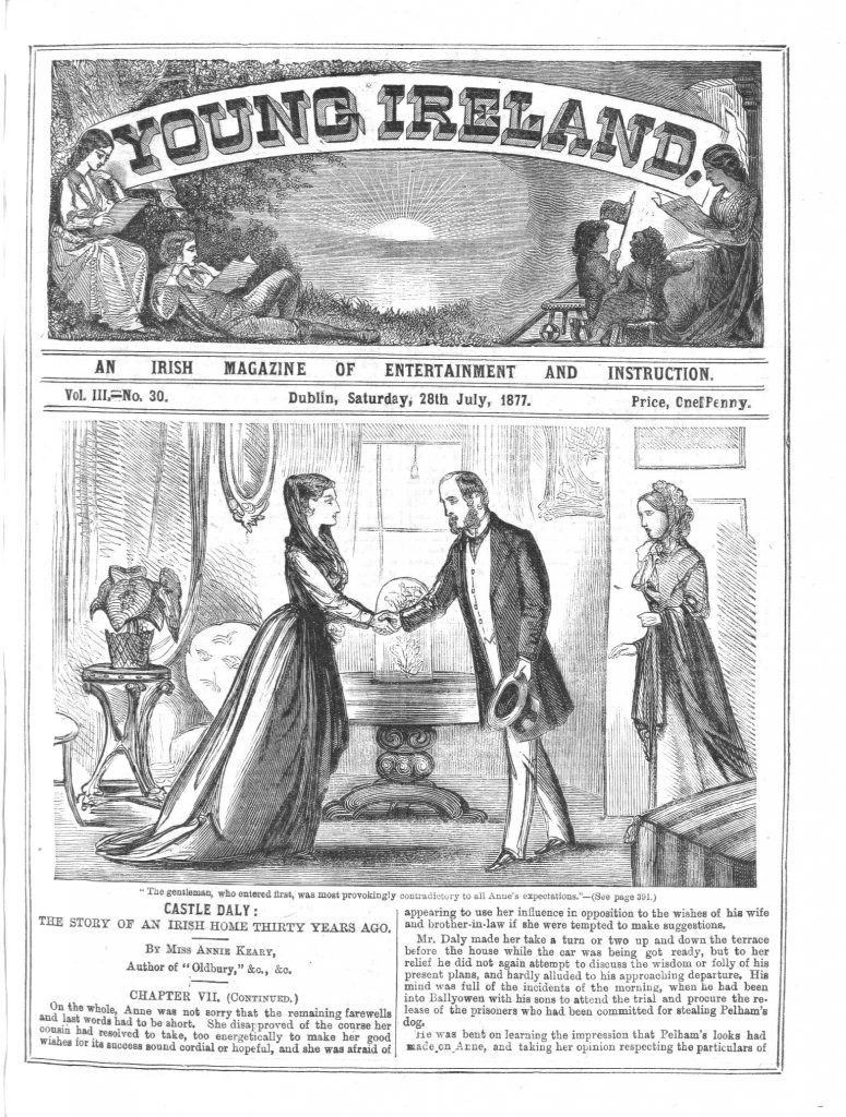 """Illustration for """"Castle Daly"""" on the cover of the 28 July, 1877 issue of Young Ireland"""