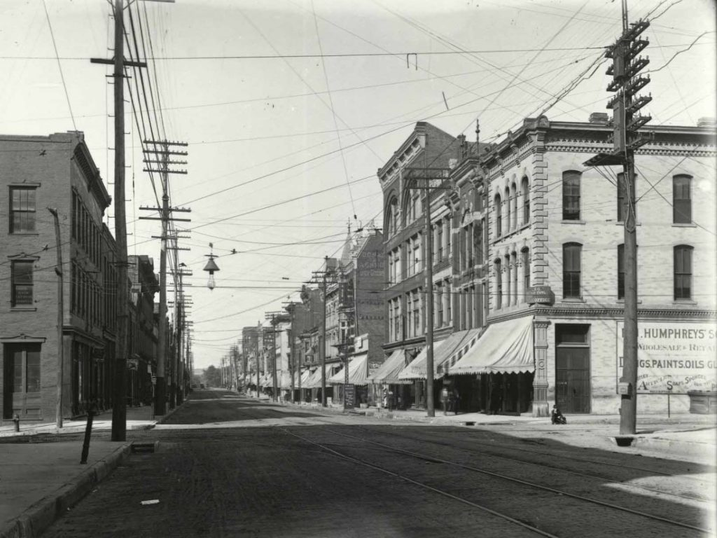 Photograph of electric streetcar lines on Delaware Street in Leavenworth, circa 1896
