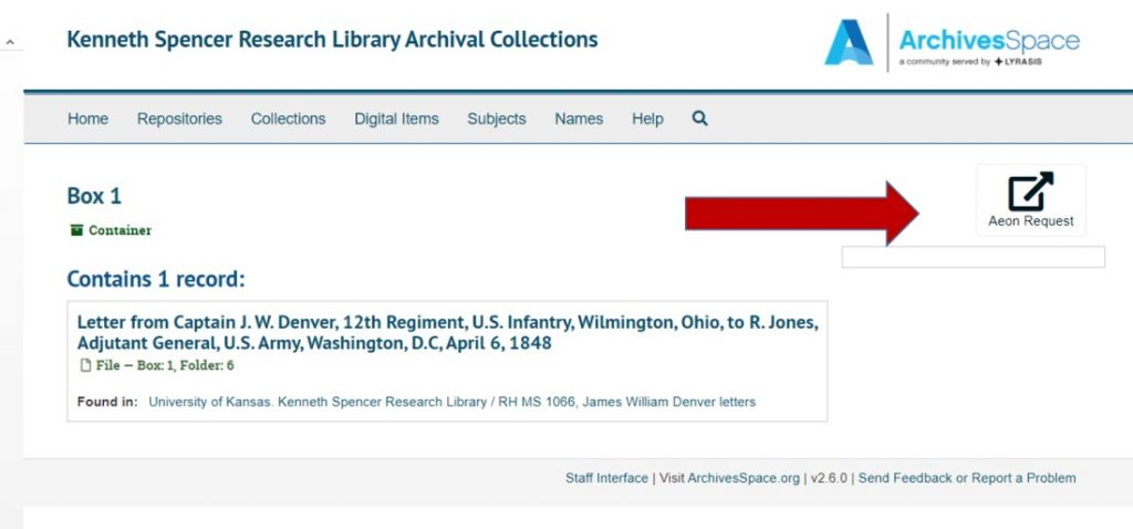 Screenshot of the Aeon request button in Spencer Research Library's new finding aid interface