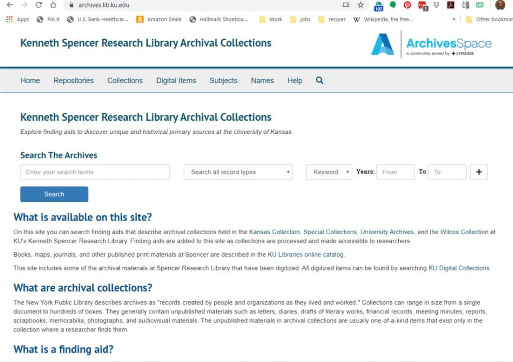 Screenshot of the homepage for the system to which Spencer Research Library is moving