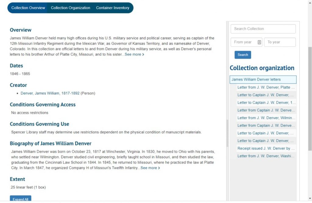Screenshot of three ways to access information about a collection in Spencer Research Library's new interface