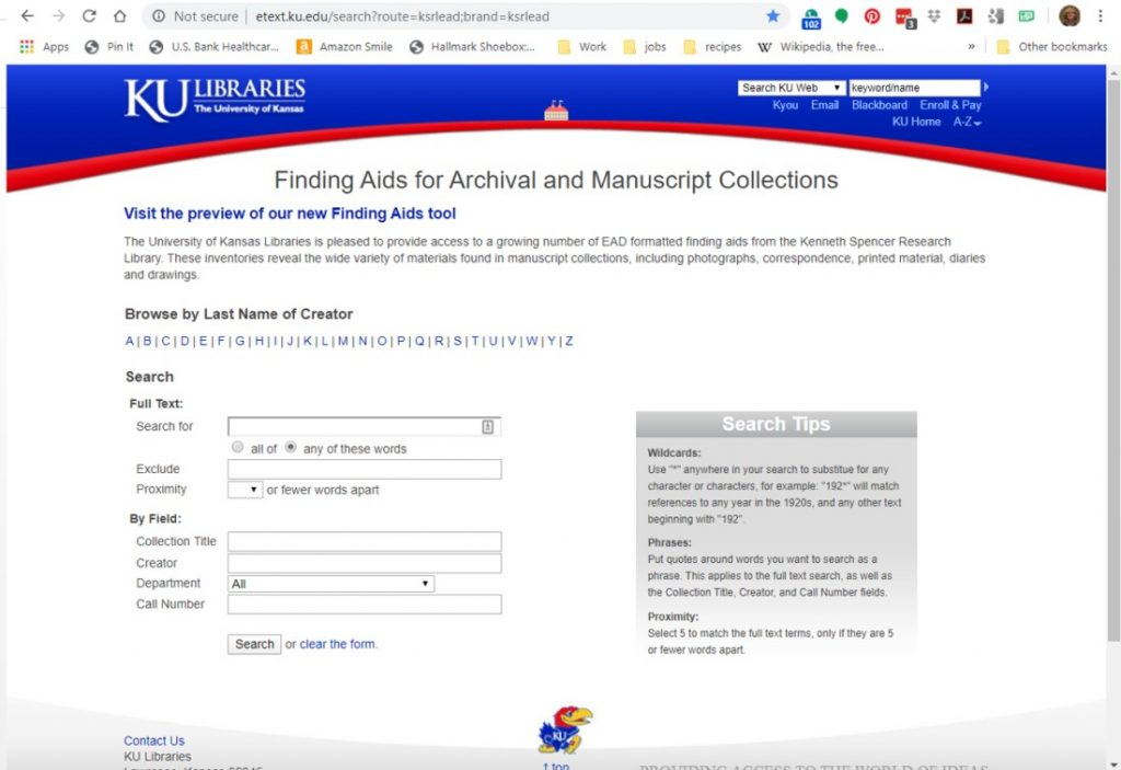 Screenshot of Kenneth Spencer Research Library's current finding aid interface