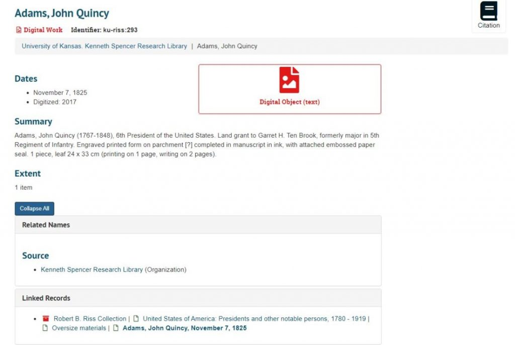Screenshot of the digital object icon in Spencer Research Library's new finding aid interface