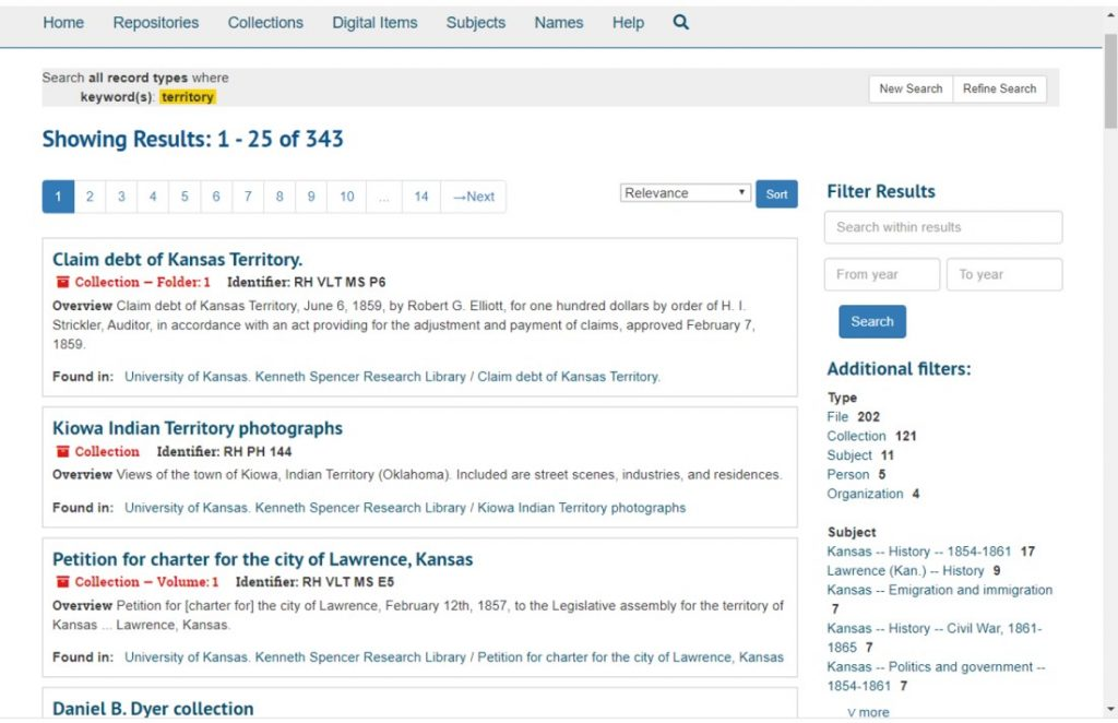 Screenshot of the search results page in Spencer Research Library's new finding aid interface