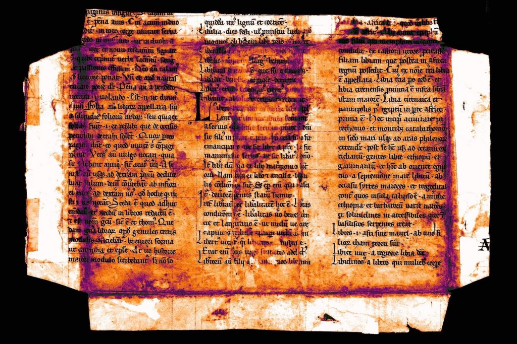 Image of a manuscript fragment possibly from Papias the Lombard's Elementarium doctrinae rudimentum [Elementary Introduction to Learning]. France? Netherlands? 13th century?, digitally processed to enhance the legibility of water-damaged text.