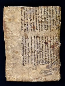 Back cover of MS C189 showing re-use of a manuscript bifolium