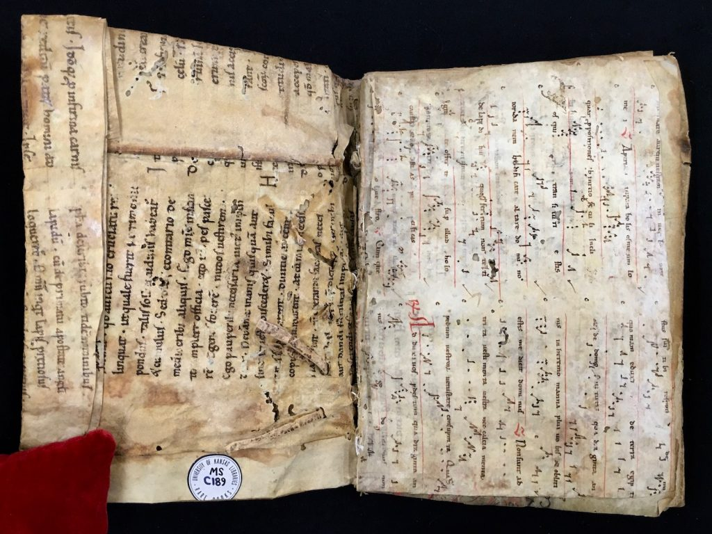 Opening with interior of the front cover of MS C189 on the left, displaying the lapped mitres and the exposed sewing-support slips, and on the right the first front flyleaf, a repurposed fragment from another manuscript.