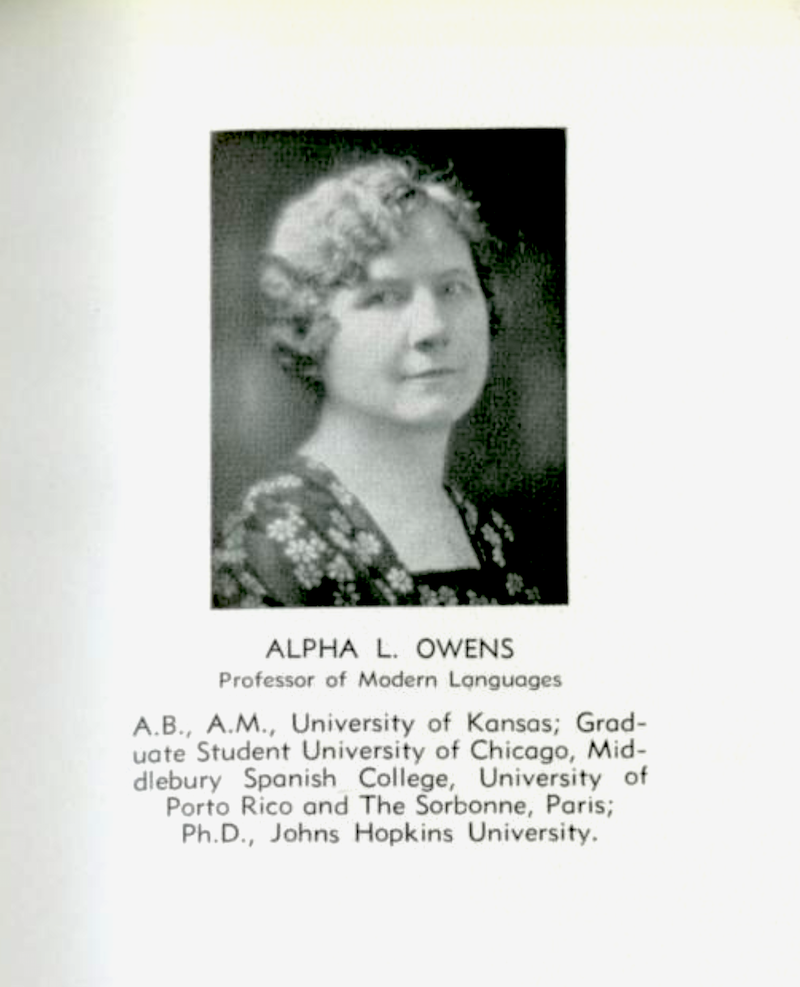 Portrait of Alpha Loretta Owens (1877–1965) when she was part of the faculty at Morris Harvey College in 1933. Source: The Harveyan, 1933.