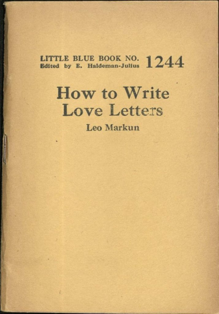 Cover of How to Write Love Letters by Leo Markun, 1927