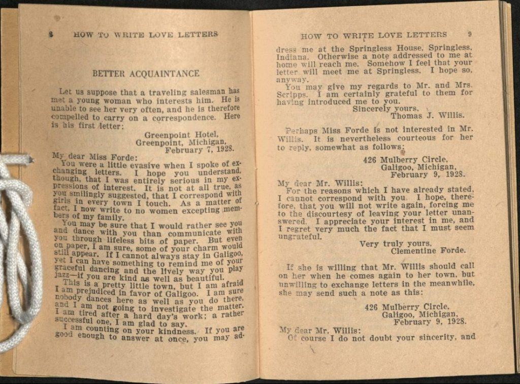 Selected pages in How to Write Love Letters by Leo Markun, 1927