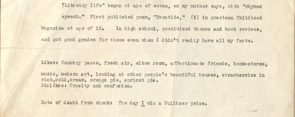 Detail from the end of a biography of Gwendolyn Brooks that Brooks enclosed with a letter dated, April 21, 1950, detailing her early literary life, likes and dislikes.