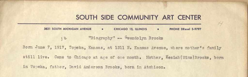 Detail from the beginning of a biography of Gwendolyn Brooks that Brooks enclosed with a letter to Van Allen Bradley dated, April 21, 1950, providing information about her birth and Kansas Roots