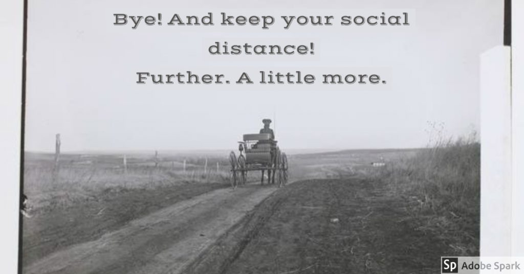 Meme created from a photograph of a woman driving a buggy through the Kansas countryside, 1902