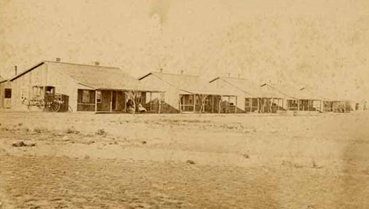 Photograph of the Officers' Quarters at Fort Wallace, Kansas, August 1868
