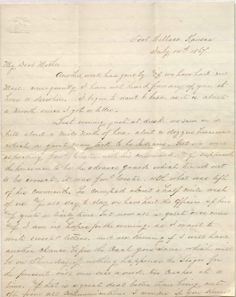 The first page of Richard Blake's letter to mother, July 14, 1867