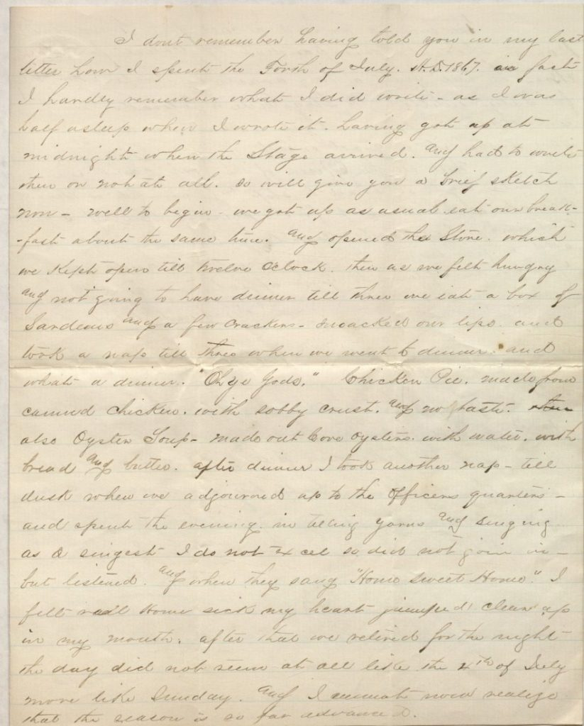 The third page of Richard Blake's letter to mother, July 14, 1867