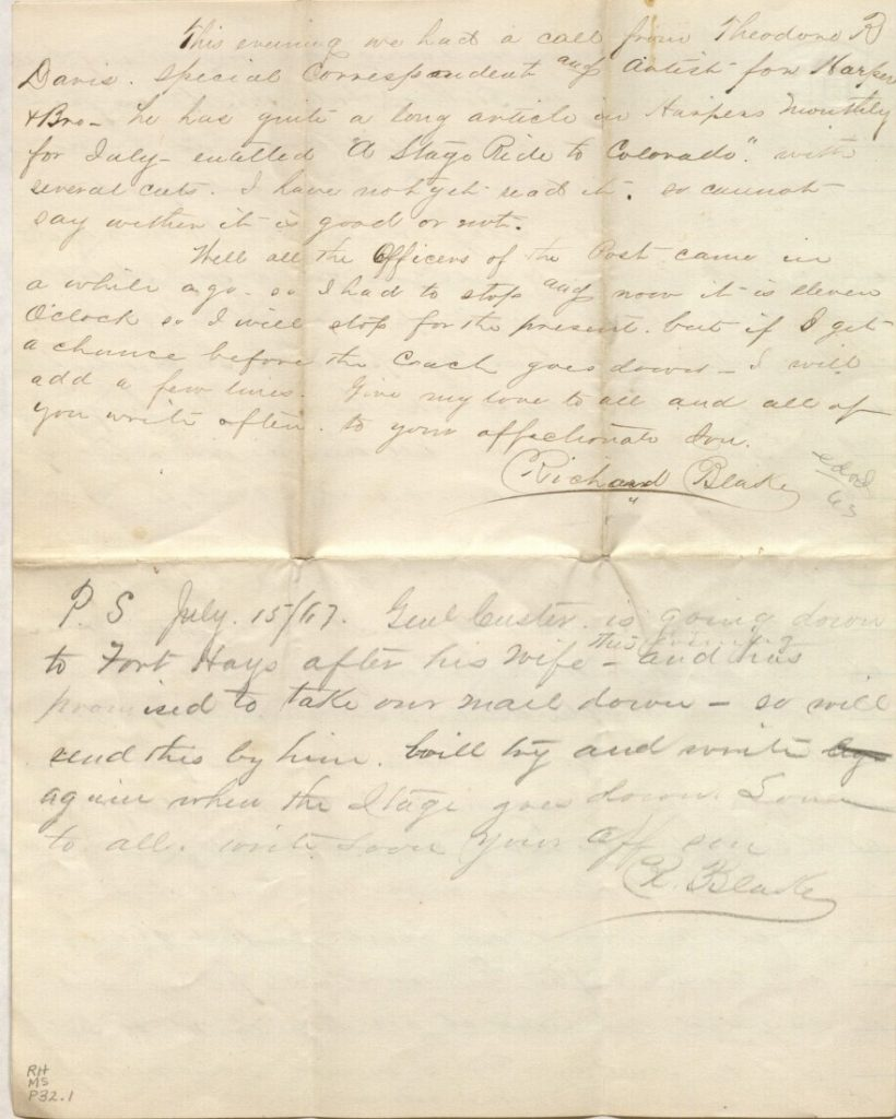 The fourth page of Richard Blake's letter to mother, July 14, 1867