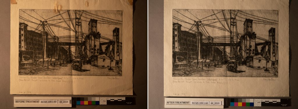 The etching Kansas City, Kansas Grain Elevators, by Mary Huntoon, in raking light, prior to treatment (at left), and after treatment (at right).
