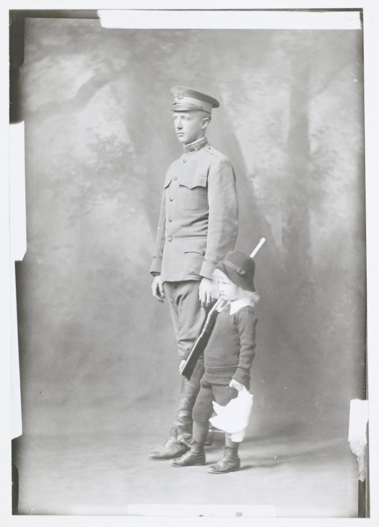 Photograph of Lieutenant George Patton with his daughter, Beatrice, 1914