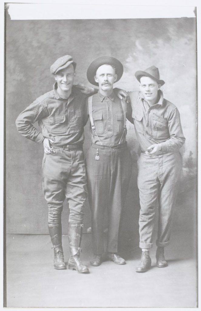Photograph of John Orr with two of his sons, 1919