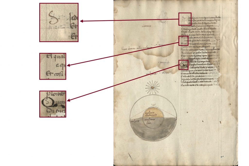 Image of of folio 10 verso of the Kenneth Spencer Research Library's copy of Dati's La Sfera (Pryce MS P4), with blown up segments show spaces left for initials at the beginning of each stanza.