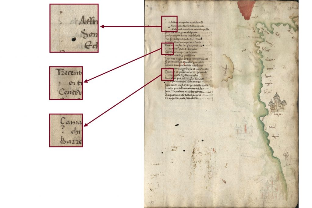 Image of of folio 21r of the Kenneth Spencer Research Library's copy of Dati's La Sfera (Pryce MS P4), with blown up segments showing spaces left for initials, which now only contain guide letters, at the beginning of each stanza.