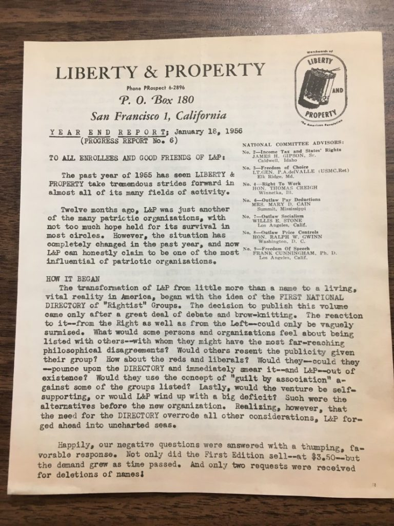 Photograph of the front page of a year-end report from the Liberty & Property organization, 1955