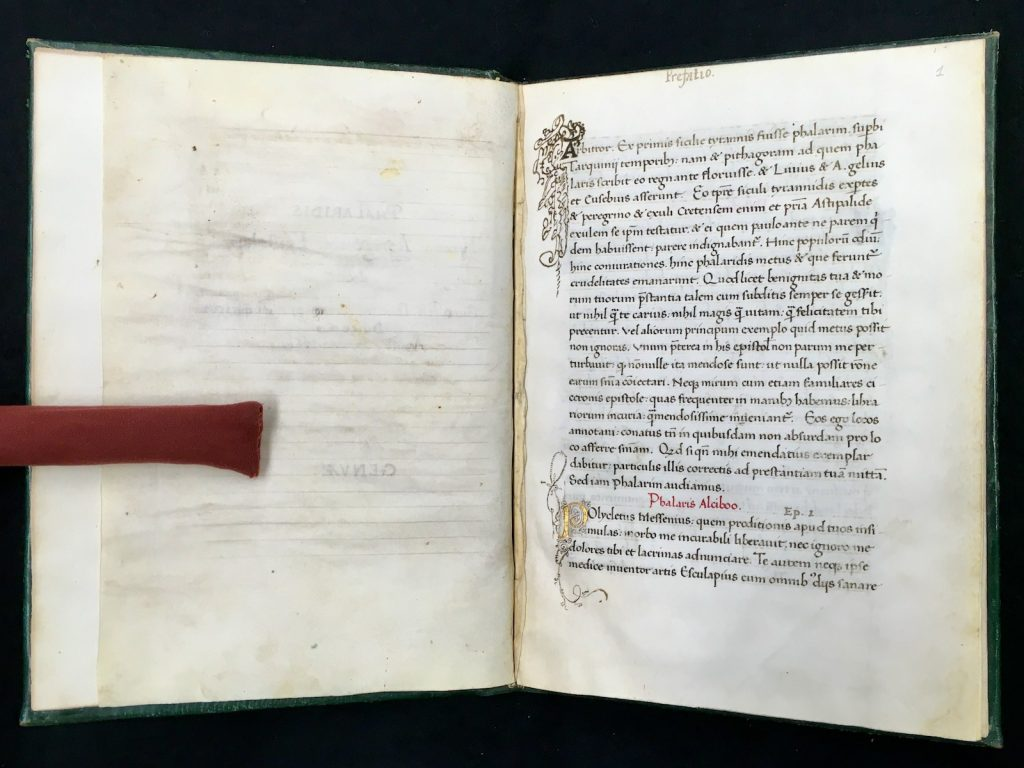 The beginning of the text on folio 2r for Spencer Research Library's copy of Pseudo-Phalaris's Epistolae, Italy, 1463. Call # MS C277