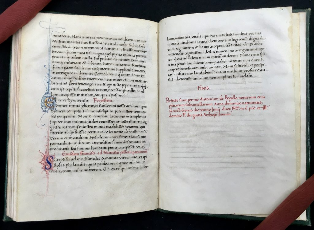 Opening showing the colophon in red ink on folio 39 recto of Epistolae by Pseudo-Phalaris (MS C277)