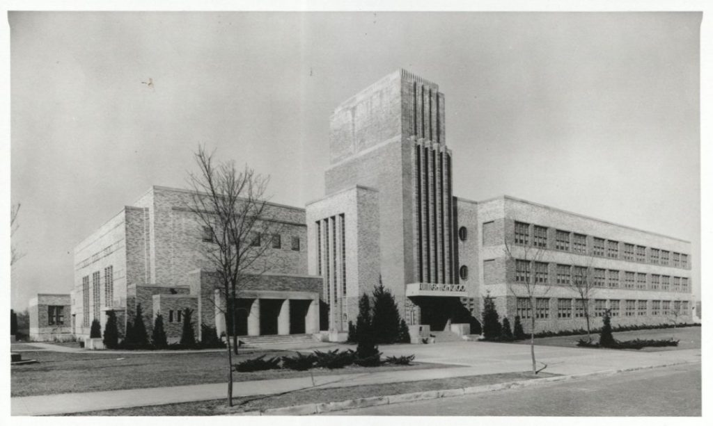 Photograph of the exterior of the Sumner High School building, 1940-1978