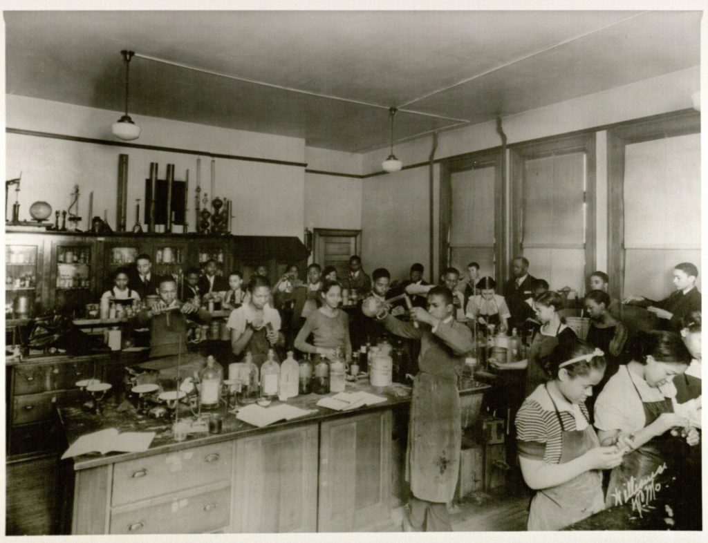 Photograph of a Sumner High School chemistry class, 1930s