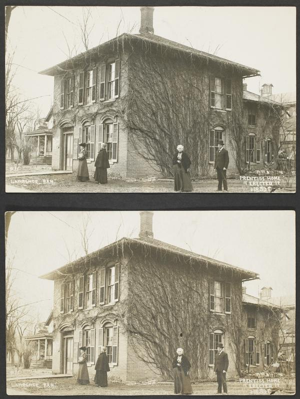 Photograph of Annie Soule Prentiss standing outside of her residence and home goods store with son Frank, circa 1900