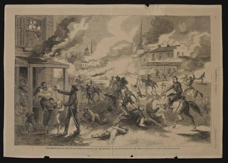 """The Destruction of Lawrence,"" an artist's sketch from Harper's Weekly, September 5, 1863"