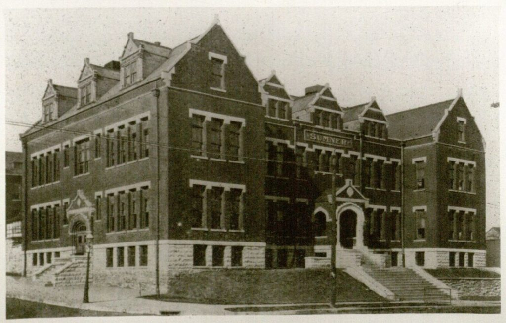 Photograph of the exterior of the Sumner High School building, 1905–1940