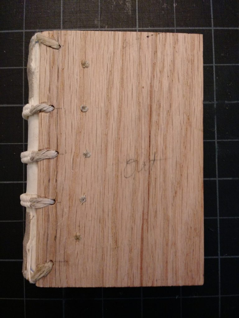 Book laced into wooden boards.