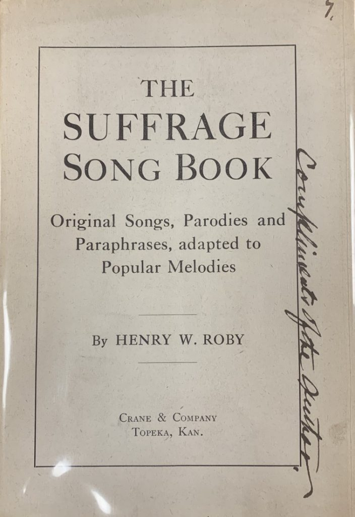 The cover of the book The Suffrage Song Book: Original Songs, Parodies and Paraphrases, Adapted to Popular Melodies, 1909